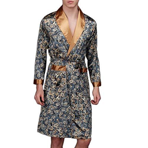 Pijamas Mujer Hombre Elegantes Floreadas Primavera Pijama Otoño Manga Larga Modernas Casual V-Cuello con Cinturón Albornoz Moda Batas Camisones (Color : Navy Blue, Size : L)