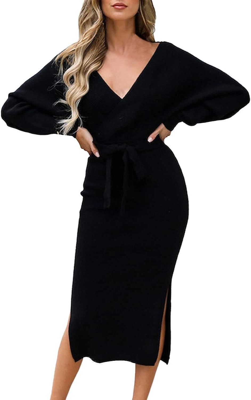 VamJump Women's V Neck Sweater Wrap Dress Batwing Long Sleeve Dress Backless Bodycon Maxi Dress with Belt