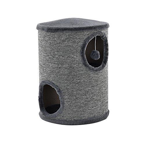 [en.casa]® Mueble para gatos - Rascador barril para gatos - gris - 50 x 37 x 37cm