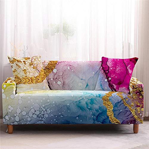 Alayth Fundas Decorativas para Sofas Mármol Impreso Estiramiento Brillante Sofá Fundas Elástico Envoltura Todo Incluido Sofá Cover-4-Seater_Color2