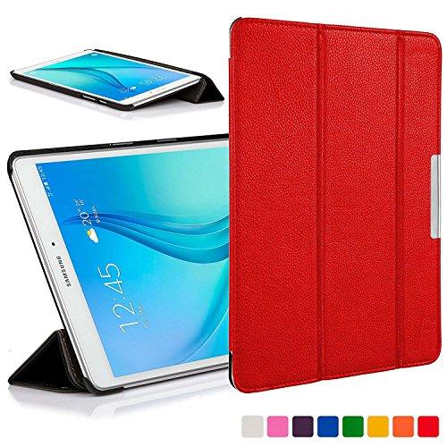 custodia tablet samsung tab e Forefront Cases Cover per Samsung Galaxy Tab E 9.6 Cover Custodia Caso Pieghevole - Ultra Sottile Leggero con Protezione Dispositivo Completa (Rosso)