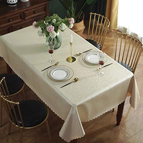 Qualsen Mantel Antimanchas Rectangular Impermeable, 140 x 240 cm, Manteles Mesa Decorativo para Hogar Comedor del Cocina, Beige