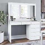 Boahaus Dressing Table, 7 Drawers, Large Mirror, White