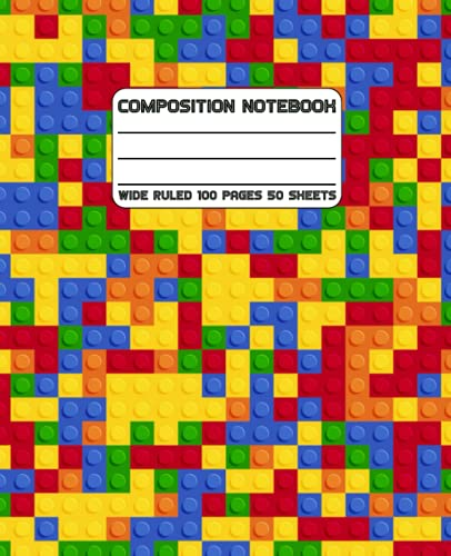 Colored Bricks Composition Notebook: Wide Ruled Building Block Themed Notebook For Preschool Handwriting Practice, Back to School Supplies, Students and Teachers