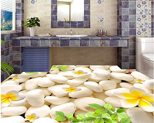 Senior Mode Behang Kiezels Groen Bladeren Ei Tegels 3D Vloeren Driedimensionale Schilderij Achtergrond 3D Behang 350cm(L) x245cm(W)