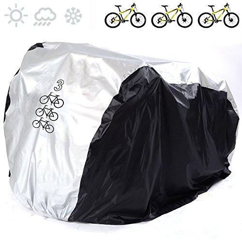 Universelle Fahrradabdeckung von Fucnen, aus 190T Nylon, wasserdicht, tragbar, leicht, für Außen- und Innenaufbewahrung, 3Fahrräder, robust, Staub-, Regen- und UV-Schutz