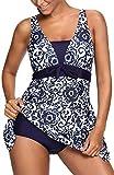PANOZON Mujer Vestido de Baño de una Pieza Bañador con Braguita Alta de Bikinis para Mar Playa (Medium, Azul Marina-2)