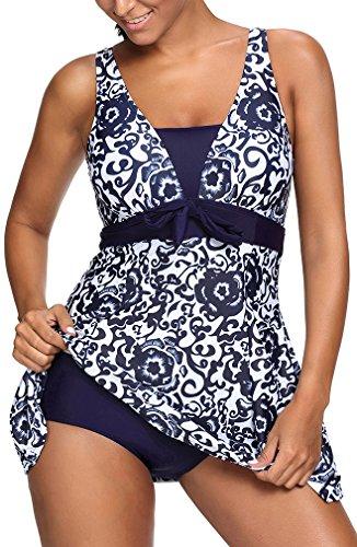 PANOZON Damen EIN Stück Große Größen Rückenfrei Retro UV Schutz Bandeau Monokinis Tankini Schwimmanzug (3XL(EU 44-46), Navy Blau)