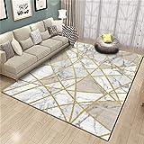 ZIJIAGE Rug Carpet, Modern White Marble Golden Line Blue Camel Carpet, for Bedroom,Bedside,Living Room, Decorative Carpets Mat,B,45 75CM