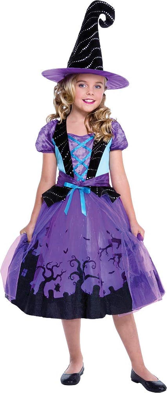Girls Cauldron Cutie Witch Dress With Graveyard Silhouette Hat Halloween Costume