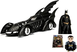 Diecast Car & Batman Figurine Package - 1995 Batmobile Batman Forever, Black - Jada 98036 - 1/24 Scale Diecast Model Toy Car w/Batman Figurine