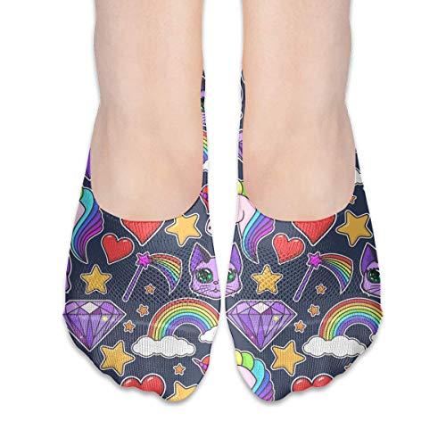 Calcetines para mujer con diseño de unicornio arcoíris y diamantes de corte bajo