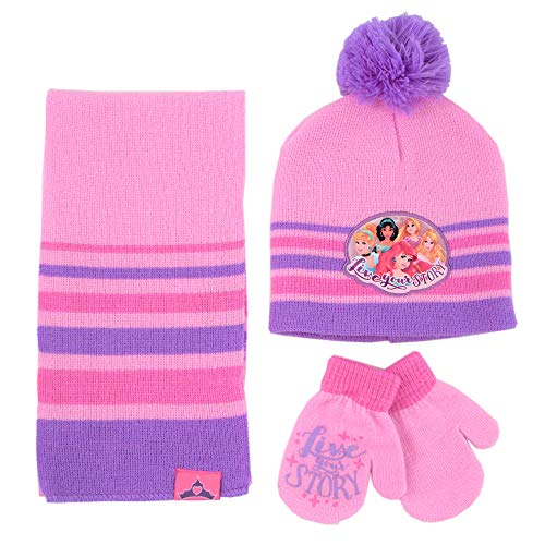 Disney Girls' Princess, Scarf and Gloves Cold Weather, Pink/Purple, Hat and Mitten Set, Age 2-4, Toddler Age 2-4