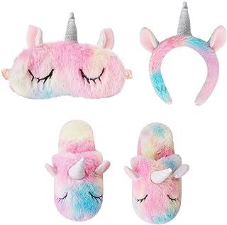 NYRWANA DELIVERING SMILES IN INIDA Girl's Unicorn Sleeping Eye Mask, Headband, Non-slip Sole Cute Indoor Winter House Slip...