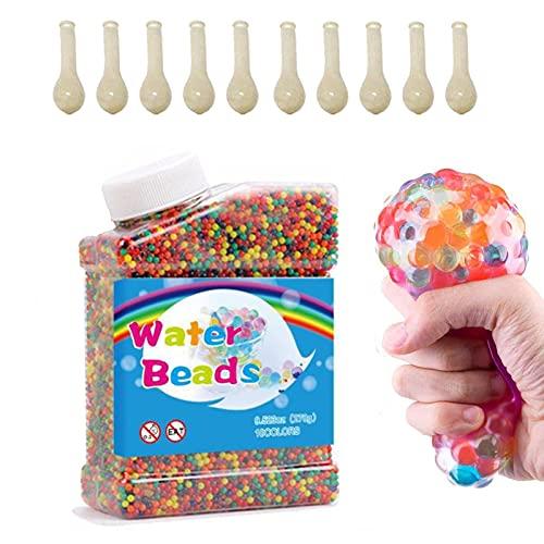 WELLXUNK 50000 Pièces Cristaux d'eau Perles,d'eau Boules Gelée (+10Pcs Ballons),Perles d'eau pour Vase,Perles de Gel d Eau,Perles d'eau Transparentes,pour Décoration