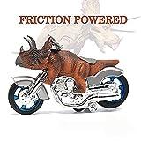 BigNoseDeer Dinosaur Motorcycle Toys - Animal Friction Motorcycles Toys Dinosaurs Triceratops 7.1' x 4'