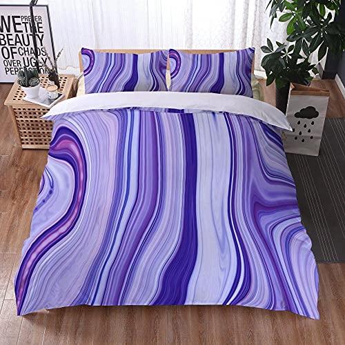 Bedclothes-Blanket Juego sabanas de Cama 150,Ropa de Cama Juego de Tres Piezas de Almohadas 3D Impresión Digital de mármol colorido-12_260x220cm