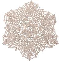 SimpleLife Algodón Mat Hand Crocheted Lace Doilies Forma de Flor Posavasos Taza Tazas Pads Beige, 20cm (7.87in)