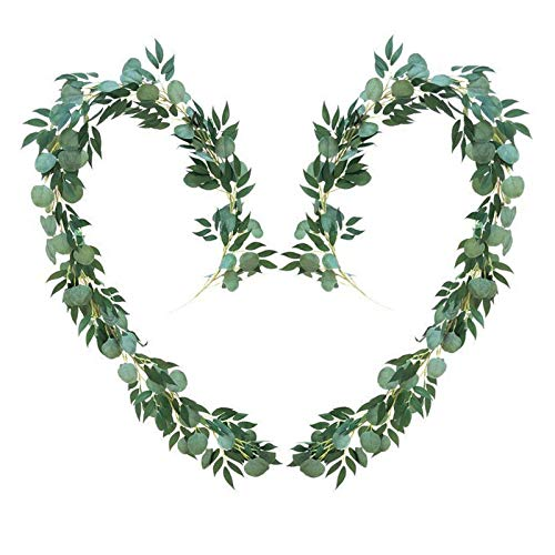 TURMIN 6.5ft Artificial Eucalyptus Garland Faux Silver Dollar Eucalyptus Leaves and Willow Vines Twigs Leaves for Indoor Outdoor Wedding Decoration-2 Pack