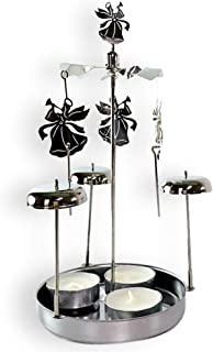 BANBERRY DESIGNS Spinning Angels Tealight Candle Holder with Bell Chimes Swedish Scandinavian Design Metal 8