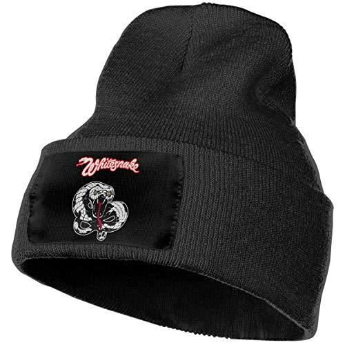 Hdadwy Moda Sombrero de Punto de Serpiente Blanca Sombreros de Invierno Sombreros de esquí cálidos Unisex de Punto Negro