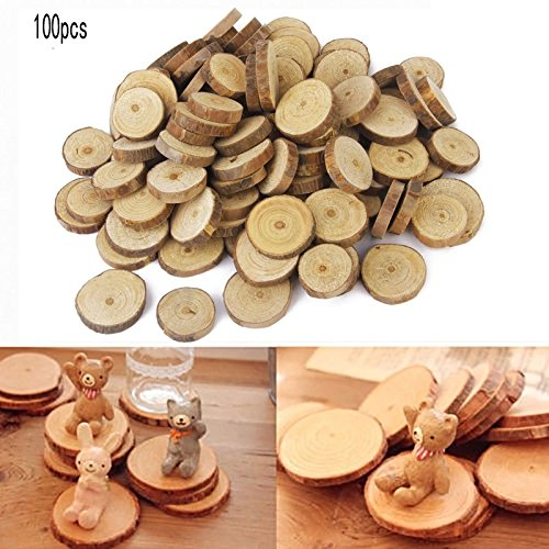 LUOEM 100pcs 3CM Wood Slices Log Discs for DIY Crafts Wedding Centerpieces