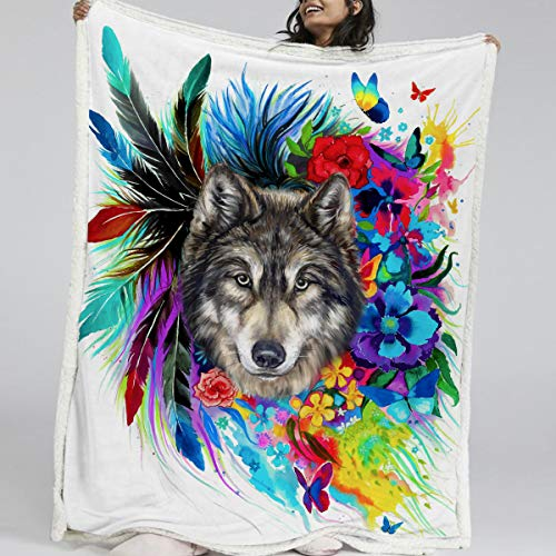 BlessLiving Wolf Throw Blanket Ultra Plush Boho Wolves Fleece Blanket for Kids Girl Adults Colorful Flowers Feather Print Couch Throws Thick Blankets Fluffy Sherpa Bed Cover (50 x 60 Inches)