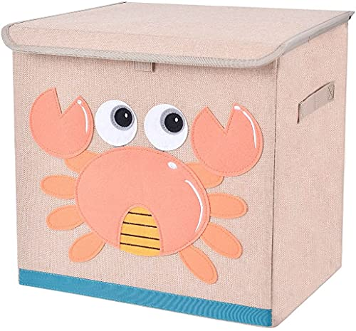 Fabric Toy Storage Bins with Lids, Cube Collapsible Stackable Toy Box/Chest/Organizer/Basket with Handles for Boy, Girl, Baby, Crab 13'' inch Storage Container for Kids Clothes, Book, Lego