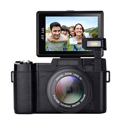 GordVE Digital Camera,24.0 MP 3.0 Inch 180°rotating screen Camera Vlogging Camera Digital Zoom Camera Video with Flash Light HD 1080P