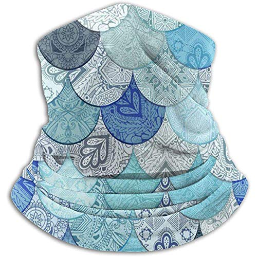 Olive Helin(a) Boho Doodle Ocean Blues Meerjungfrau UV-Sonnenschutz Gamasche Sonnenmaske, Gesichtsschutz zum Angeln, Wandern, Kajak Maske,