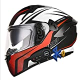 Casco De Moto Bluetooth Integrado, ECE Homologado, con Doble Visera Cascos De Motocicleta,Casco De Moto De Cara Completa, Transpirable Y Cómoda, para Mujeres Y Hombres