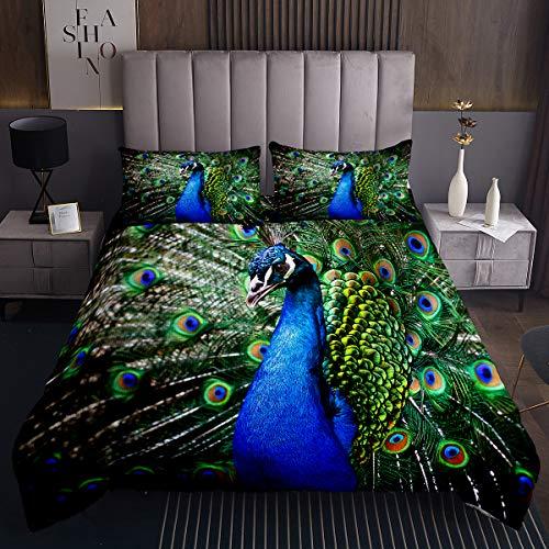 Pfauendruck Tagesdecke 170x210cm Pfauenfedern Design Steppdecke Tiermuster Steppdecke für Kinder Mikrofaser Schick Blau Grün Bettüberwurf