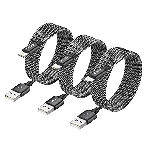 RAVIAD Cable iPhone, [3Pack 3M] MFi Certificado Cable Lightning Cable Cargador iPhone con iPhone 11 XS MAX XR X 8 Plus 7 Plus 6S 6 Plus 5 5S 5C SE- Negro