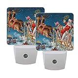 Naanle Set of 2 Santa Sleigh Flying Reindeer Snowflake Christmas Eve Auto Sensor LED Dusk to Dawn Night Light Plug in Indoor for Adults