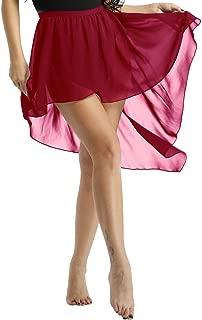 ACSUSS Womens Adult Asymmetrical High-Low Dance Dress Chiffon Lyrical Ballet Wrap Skirt