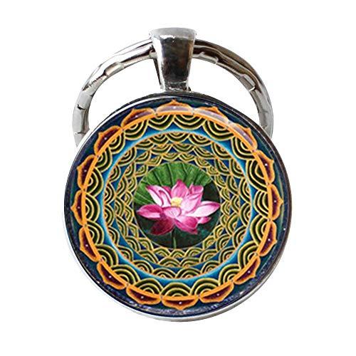 Mandala Lotus Om Porte-clés Yoga Porte-clés Om Jewelery Charm