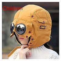 新しいファッション暖かいキャップ冬の男性オリジナルデザイン冬の帽子のための冬の帽子メガネと防水フードの帽子クールバラクラバ 誰がすべてを持っているクールプレゼントティーン (Color : Children yellow, Size : One Size)