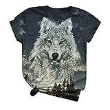 GreatestPAK T-Shirt Sommer Kurzarm T-Shirts Wolf Muster Print Herren Damen Schlank Kurzarm Top Tee Bluse