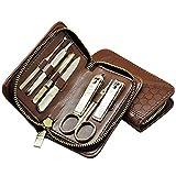Kit de Cortaúñas Clippers de uñas Kit de pedicura 7 en 1 Kit de manicura de acero inoxidable con punta de cabello de nariz fácil de usar conjuntos de manicura adulto Mejor opción de regalo (marrón / r