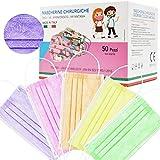 50 pezzi made in italy mascherine bambini colorate protettiva personale 3 strati ce tipo iir, nasello regolabile, pacchi individuali certifcate ce