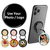 Custom 3D Crystal Photo Cell Phone Finger Ring Holder,Gift for Women Men,Adjustable & Foldable Stand for iPhone X Xr 12,Griper Back of Phone for Hand (OOBUTTON USA, Color-Black,Gold,Rose Gold)