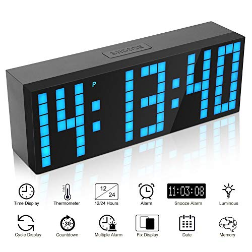 Myfei Jumbo Led-snooze-wekker, groot aantal leds, met kalender