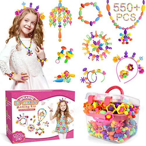 WEARXI Perlen Zum Auffädeln Kinder - 550+ pc Perlen Basteln für Armbänder Selber Machen Kinder, Schmuck Basteln Mädchen, Mädchen Spielzeug Geschenke 3-8 Jahre, Kinder Geschenke für Mädchen 3-8 Jahre