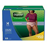 Depend FIT-Flex Max Absorbency Underwear for Women, M, Tan, 88 ct Package may vary