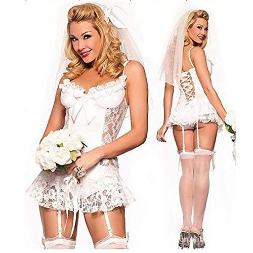 CHBY Ropa erótica Conjuntos de lencería erótica para Mujer Lencería Sexy Vestido de Novia de Encaje Blanco Traje Pijama Sexy Blanco tamaño Libre