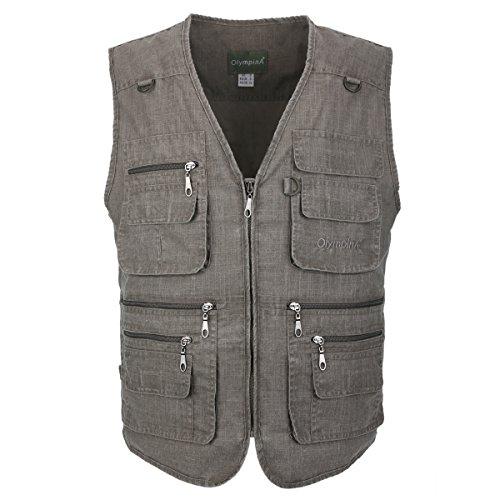 LUSI MADAM Men's Linen Outdoors Lightweight Travel Waistcoats with Pockets UK XL/Asia 4XL Olive verte