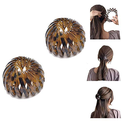 Ponytail Hairpin Curling Iron, Vintage Geometric Retractable Hair Loops, Birds Nest Hair Clip, Expandable Ponytail Holder, Fashion Retro Leopard Print Bird Nest Hairstyle Headbands for Women (2 Pcs C)