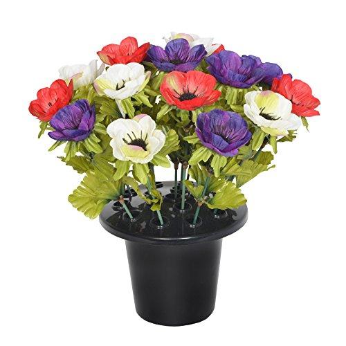 Sincere Floral 4027 Grabschmuck, künstlich, Korallenanemone, Violett, Creme & Rot