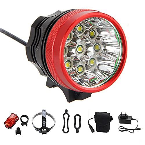 LuckyXX Fahrradlampe, Fahrradbeleuchtung, LED-Scheinwerfer, wiederaufladbar, wasserdicht, 18650 lm, 9 T6, CREE XM-L, 4 Lichtmodi, Lithium-Batterien + Ladegerät + verstellbares Stirnband + Rücklicht