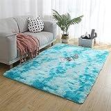 Teppiche Modern 200x270cm, Teppich Design, Gemütlich, Schaffell, für Wohnzimmer, Schlafzimmmer, Kinderzimmer, Esszimme - Blau
